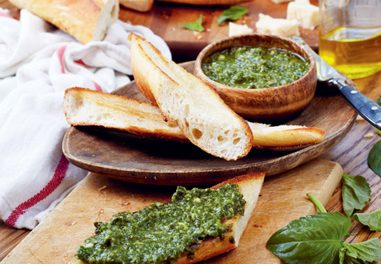 Pesto on Toasted French Bread