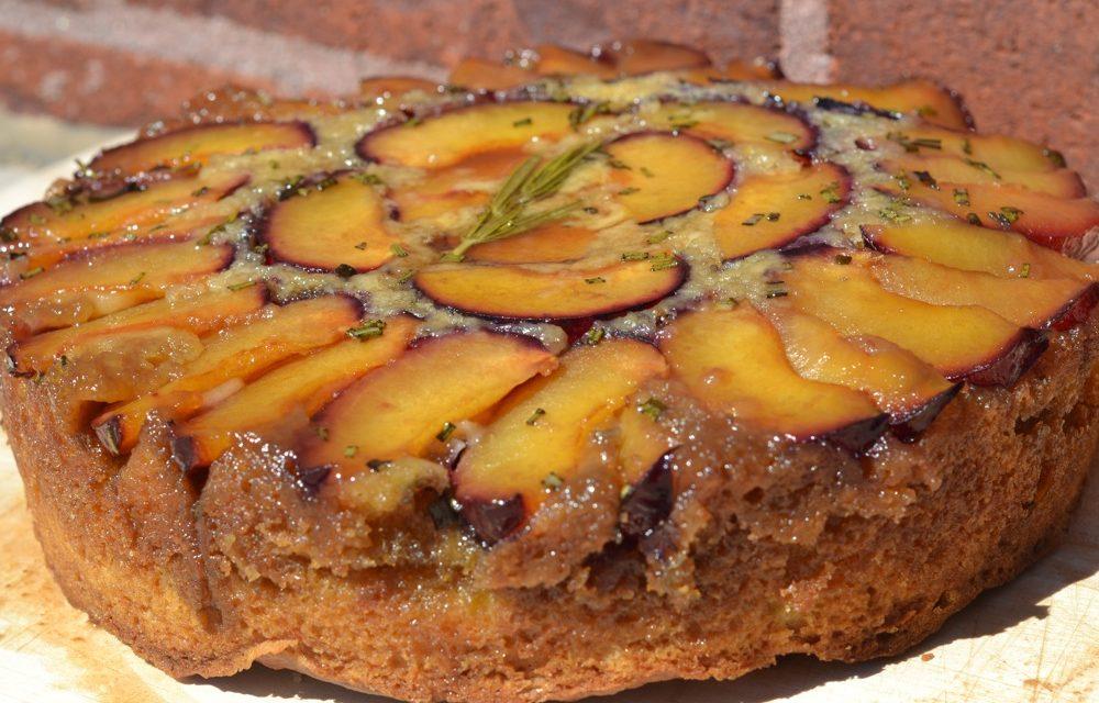 Plum-Rosemary Upside-Down Cake