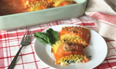 Rolled Stuffed Lasagna with Kale in a Tomato Cream Sauce