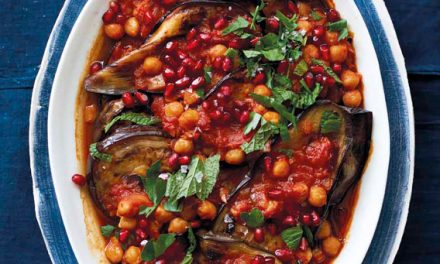 Baked Eggplant, Chickpeas, and Tomatoes