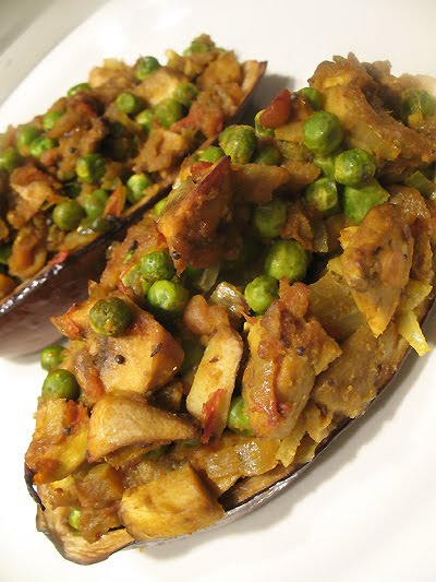 Baked Eggplant Stuffed with Curried Vegetables