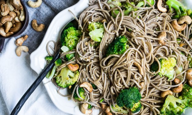 Cold Sesame Noodles with Broccoli and Cashews