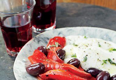 Fresh Mozzarella, Roasted Pepper, and Black Olive Salad