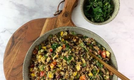 Skillet Bulgur and Vegetables with Shredded Basil
