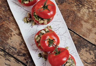 Tomatoes Stuffed with White Beans and Pesto