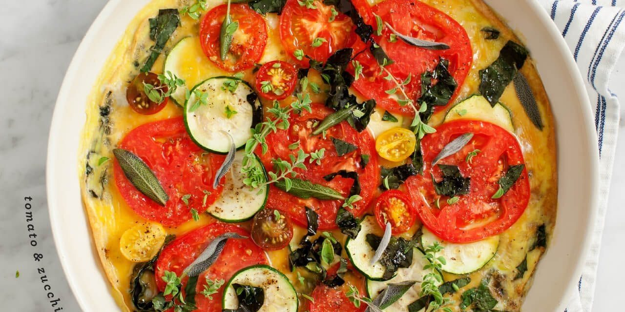 Zucchini, Tomato, and Basil Frittata