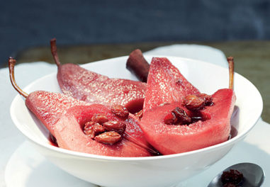 Poached Pears in Red Wine with Raisins