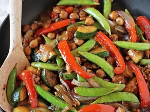 Zucchini, Red Pepper, and Snow Pea Saut