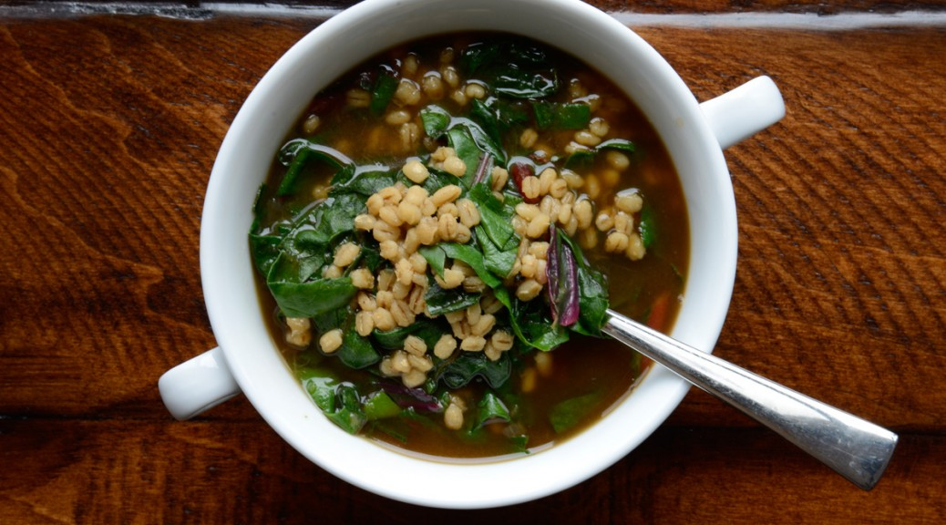 Barley and bean soup with rainbow chard