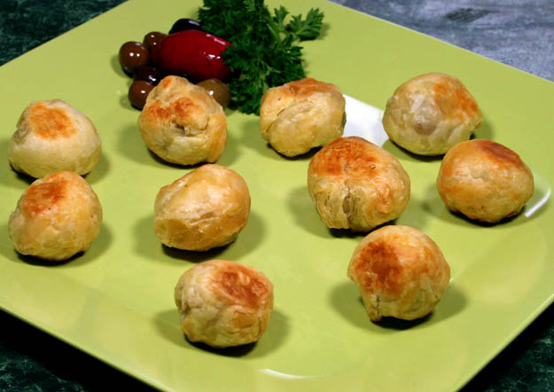Pastry-wrapped stuffed olives