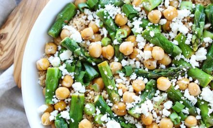Quinoa salad with roasted asparagus, white beans, and red peppers