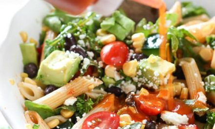 Southwestern pasta salad with avocado-serrano dressing