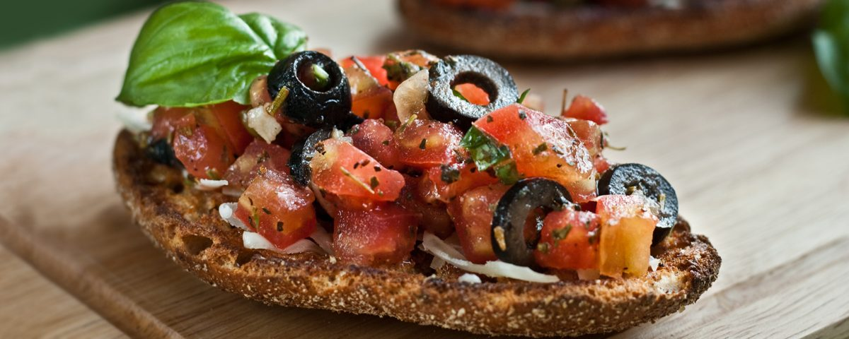 Thomato and olive bruschetta