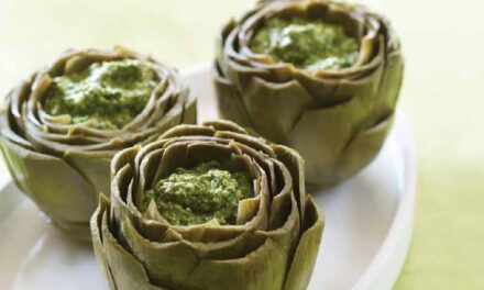 ARTICHOKES STUFFED WITH ARUGULA PESTO