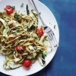 LINGUINE WITH GRILL-ROASTED TOMATOES & ZUCCHINI PESTO