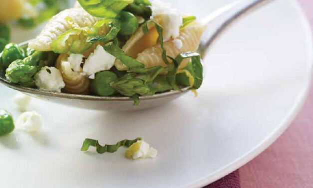 SHELLS WITH ASPARAGUS, PEAS, FETA & MINT