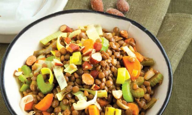 WARM SPICED LENTIL BOWL WITH YOGURT AND SMOKED ALMONDS