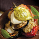 AMARANTH, ROASTED TOMATO & EGGPLANT STACKS WITH PESTO