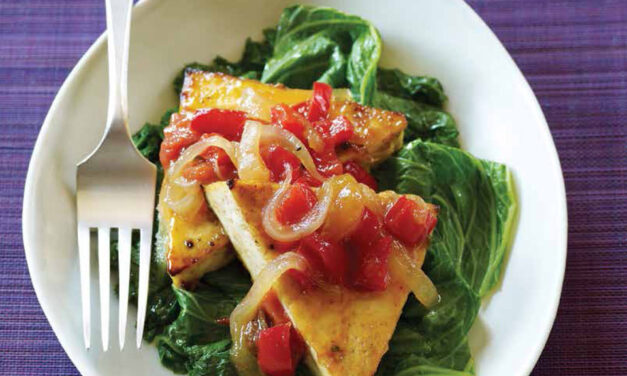 BROILED TOFU & STEAMED MUSTARD GREENS WITH SPICY MANGO SAUCE
