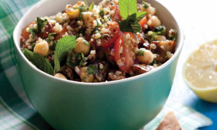 MIXED-GRAIN TABBOULEH WITH ROASTED EGGPLANT, CHICKPEAS & MINT