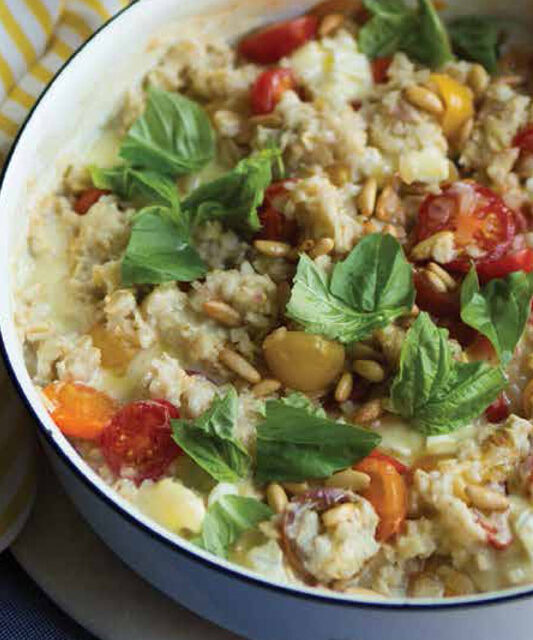 SAVORY OATS WITH BRIE & CHERRY TOMATOES