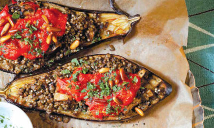 STUFFED EGGPLANT WITH LENTILS & MILLET