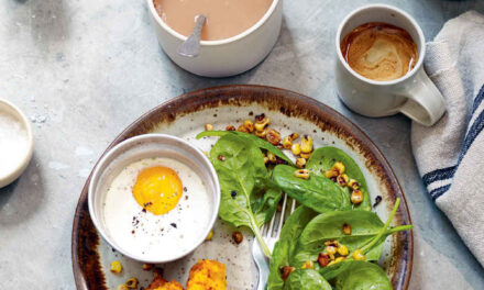 Baked duck eggs with tomato and rosemary cake and charred sweetcorn