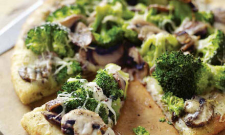 WHITE PIZZA WITH BROCCOLI & MUSHROOMS