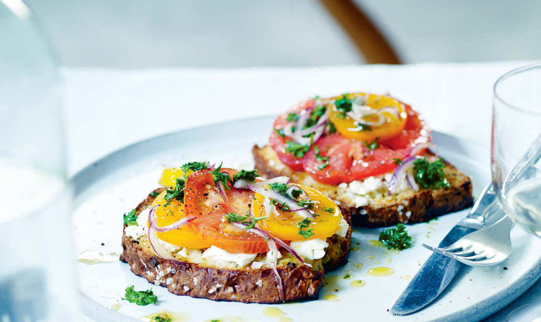 Heritage tomatoes and Yorkshire Fettle on toast
