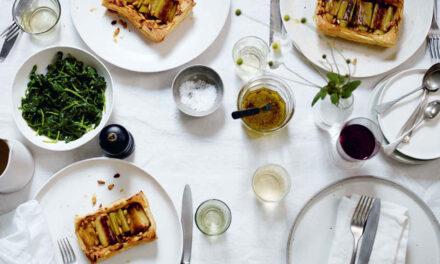 Leek, lemon and pine nut tart with wilted wild garlic