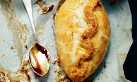 Red onion, vintage Cheddar and sage pasty
