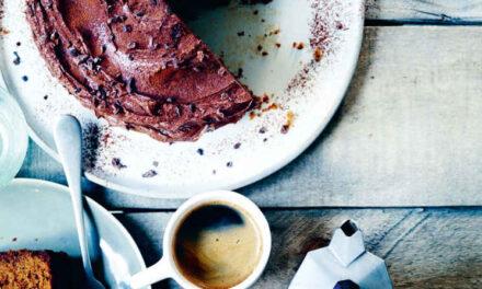 Coffee cake with cocoa nib icing