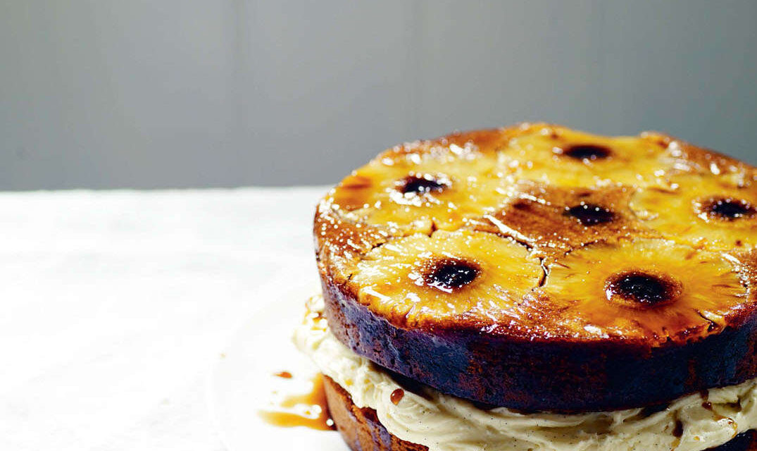 Pineapple and rum upside-down cake with brown butter filling