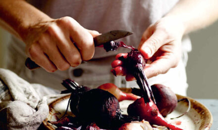 Baked beetroot with home-made curds and toasted sunflower seeds