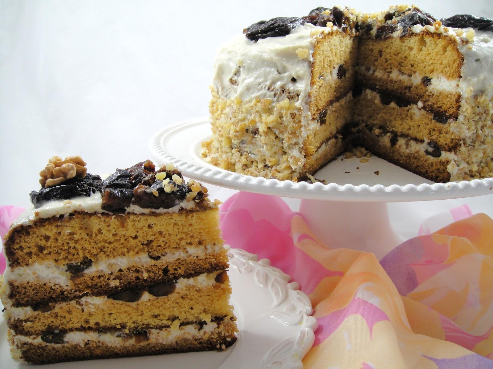 Boozy prune and honey cake