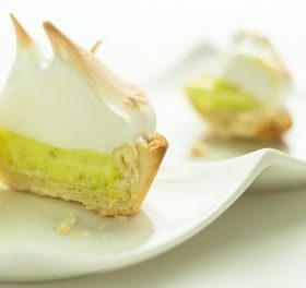 Lemon and lime meringue with coconut crumble