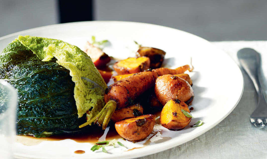 Mature Cheddar and Savoy cabbage pudding with ale