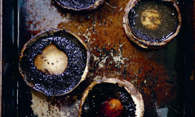 Portobello mushrooms, red wine and roast garlic lentils