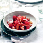 Raspberry, pickled rhubarb and pink peppercorn salad