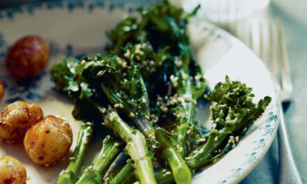 Whey-poached purple-sprouting broccoli with sesame