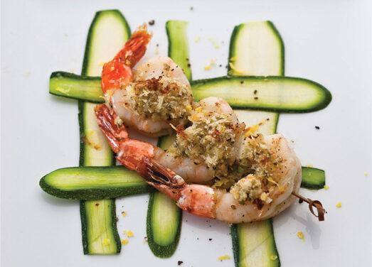 Baked Shrimp Scampi On Zucchini Carpaccio