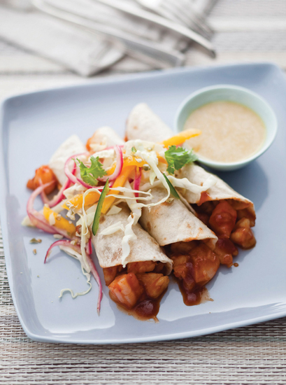 Barbecue Shrimp Taco With mango Pickled red Onion Salad