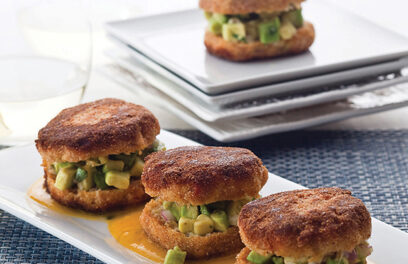 Crab And Avocado Sandwiches With Mango Coulis