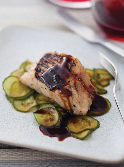 Miso Glazed Sea Bass With Soy Reduction And Pickled Cocumber Salad