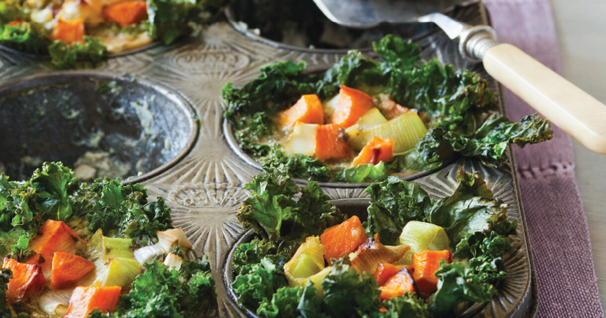 Kale-Wrapped Leek and Sweet Potato Mini Quiches