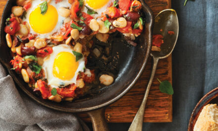 Skillet Eggs in Rustic Tomato Sauce with Butter Beans