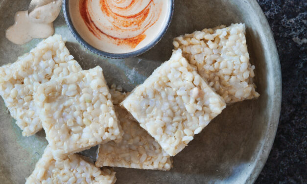 Brown Rice Squares with Coconut Cashew Dipping Sauce