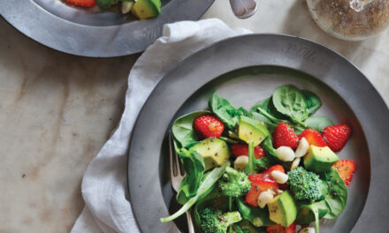 Delightful Strawberry Spinach an Broccoli Salad with Macadamia Nuts