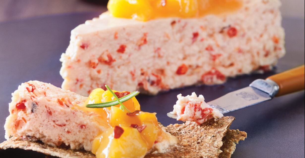Red Pepper Cheesecake with Apricot Peach Compote