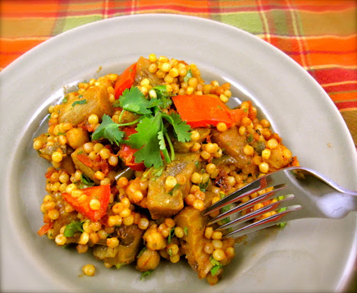 Israeli Couscous and Chickpeas with eggplant red peppers